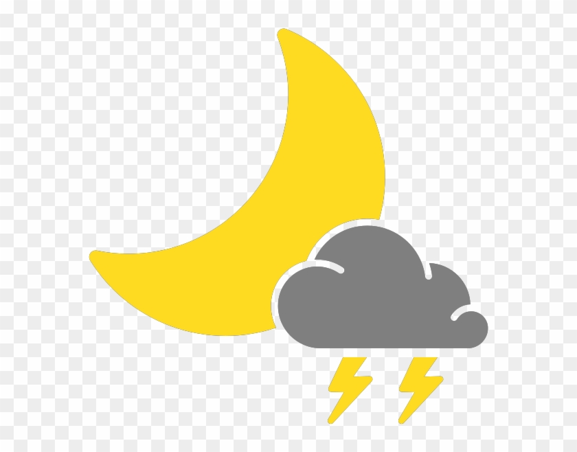Simple Weather Icons Scattered Thunderstorms Night - Isolated Thunderstorms Weather Icons #586227