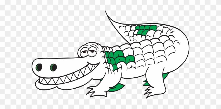 White Alligator Outline Clip Art At Clker - Alligator Black And White #586429