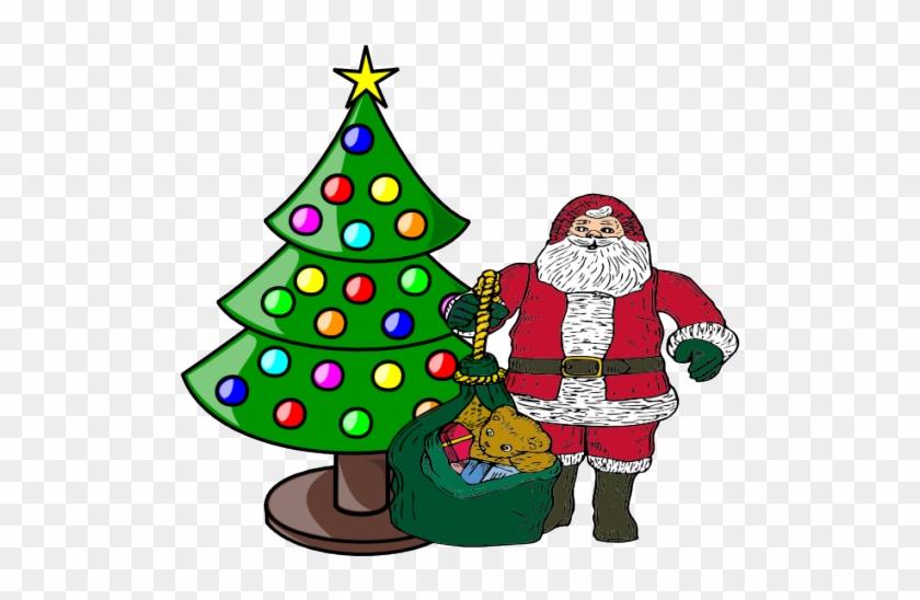 Kaufman, Kemp Churches Hillcrest Baptist Church, First - Santa Claus And Christmas Tree Clip Art #588280