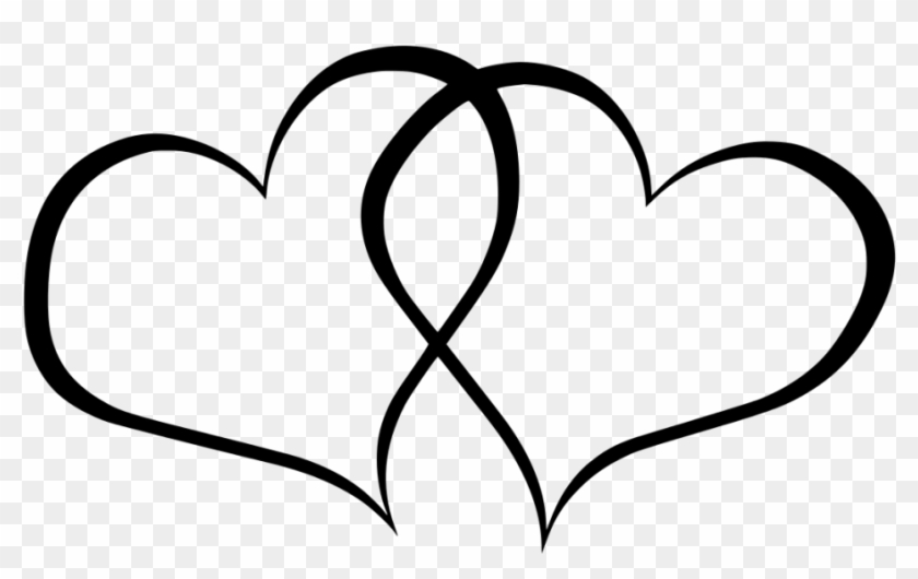 Love Clipart Outline - Joined Hearts Clip Art #103313