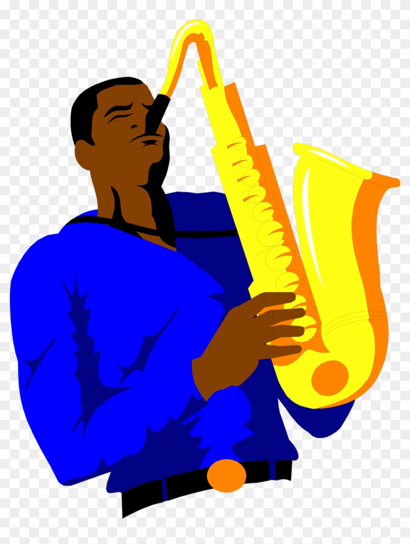 Saxophone Free An African American Clip Art - Guy Playing Saxophone Clipart #103357