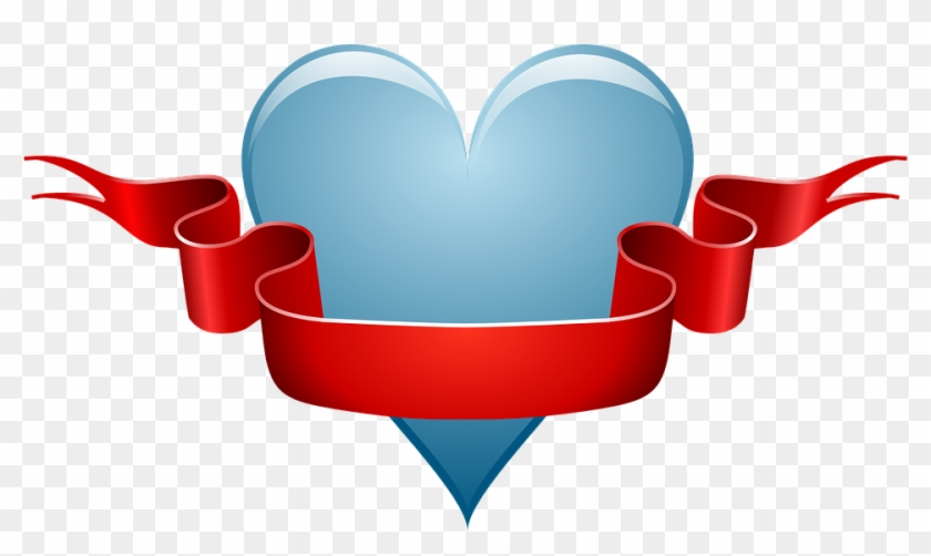 Heart Love Ribbon Red Banner Valentine Romance - Ribbon Clip Art #103989