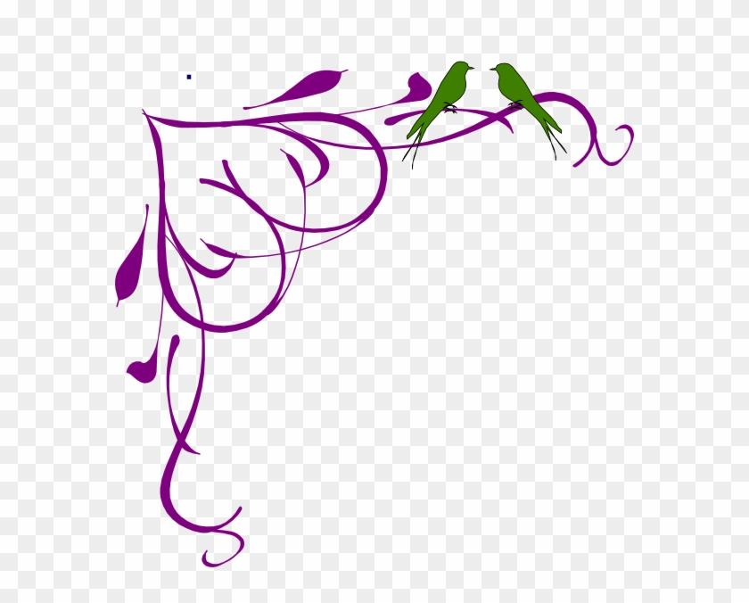 Love Birds Grey Corner Frame Purple Clip Art - Fancy Border Clip Art #104084