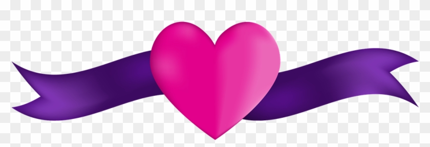 Banner Heart Ribbon Pink Purple Anniversary - Living With Lupus #104139
