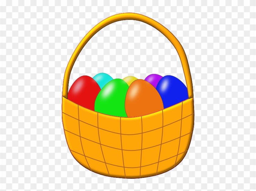 Easter Basket With Colored Eggs Clip Art At Clker - Cute Easter Basket Clipart #104173