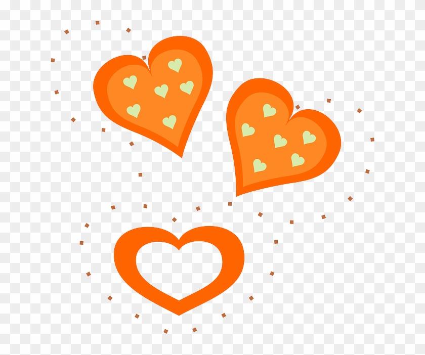 Love, Orange, Free, Valentines, Hearts - Orange Hearts Clipart #104258