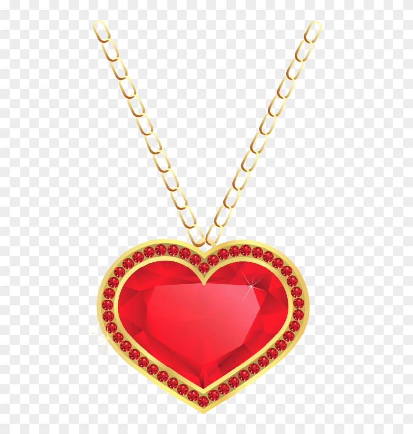 Pennant Clip Art - Heart Necklace Transparent Background #104263