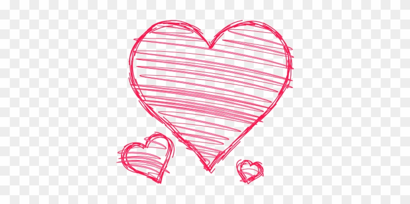 Doodle Hearts Pink Red Handdrawn Pen Drawn Scribble - Hand Drawn Heart Clipart Free #104341