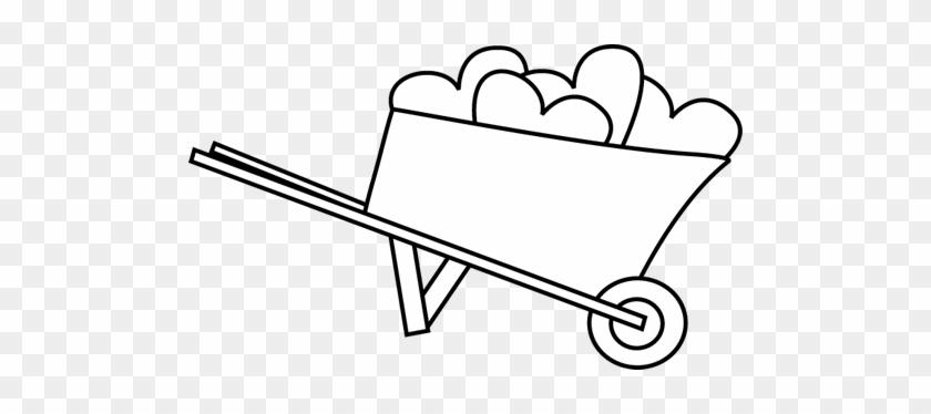 Black And White Wheelbarrow Of Hearts - Pushing Boy Black And White #104644
