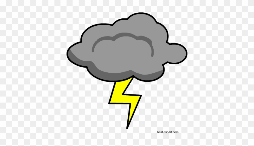 Grey Cloud And Lightening Free Png Clip Art Image - Clip Art #105217