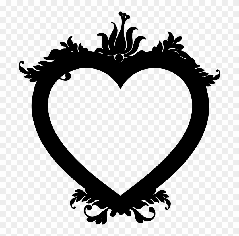 Medium Image - Floral Heart Black And White Png #105331