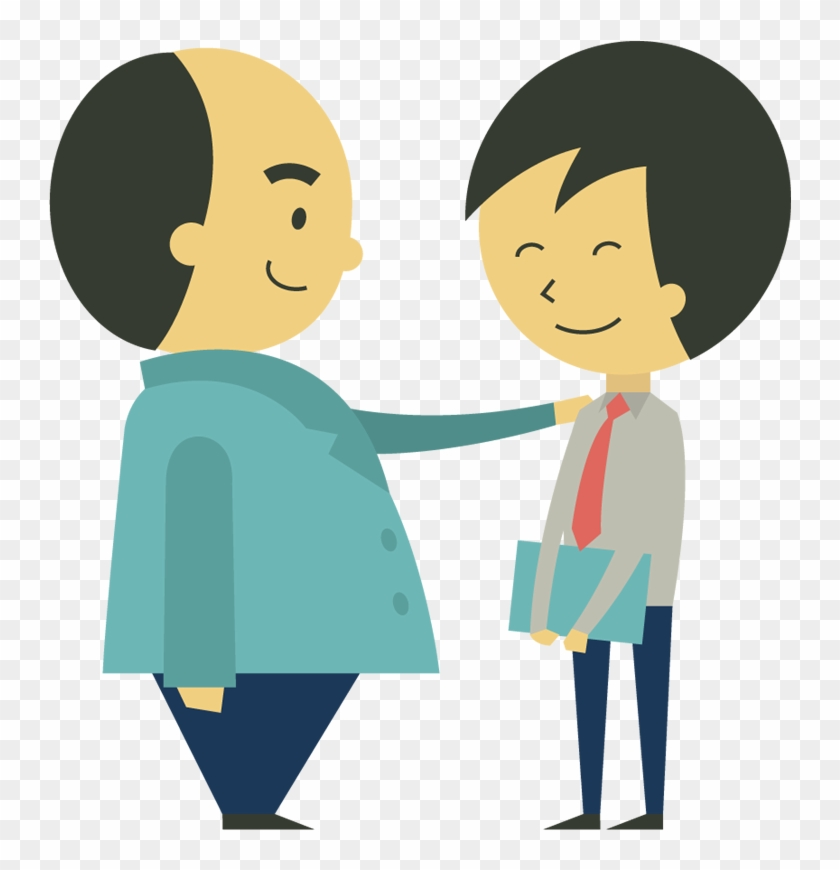 Cartoon Confident Boss Holding Hand On Shoulder Of - Hand On Shoulder Png #105424