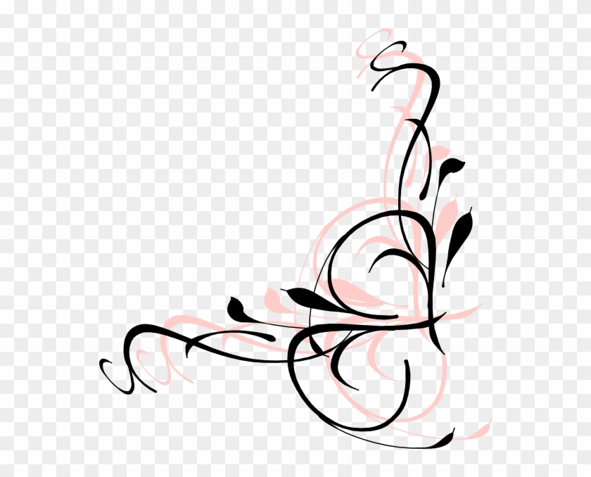 Floral Swirls Pink And Black Clip Art - Pink And Black Swirls #105425