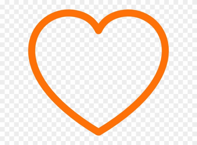 Orange Love Heart Outline #105611