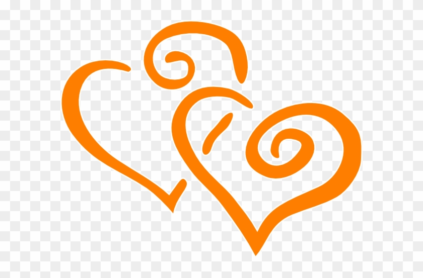 Orange Intertwined Hearts Clip Art - Wedding Anniversary Clip Art #105636