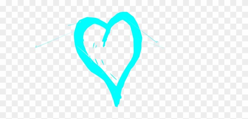 Aqua Heart Clip Art - Blue Heart Sketch Shower Curtain #105645