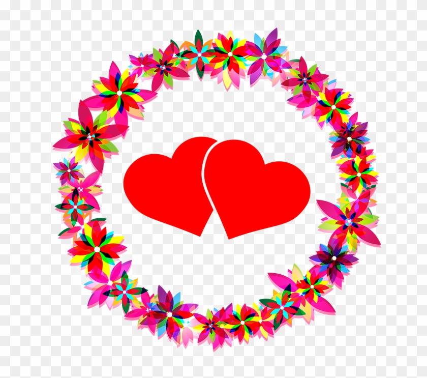 Flowers Hearts Love Wreath Frame Circle - Imagenes Con Flores Y Corazones #105682