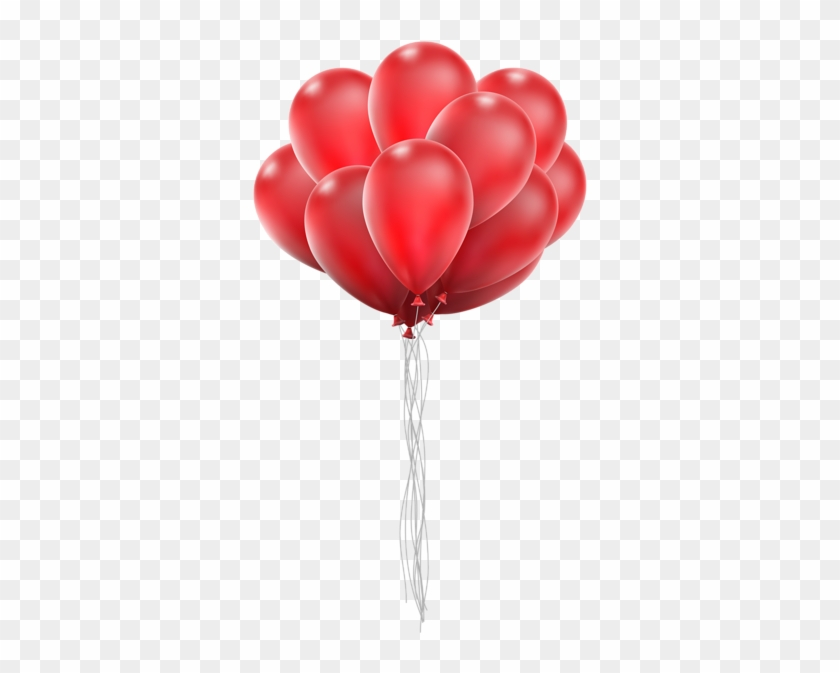 Balloon Bunch Png Clip Art Image - Red Heart Balloon Png #105758
