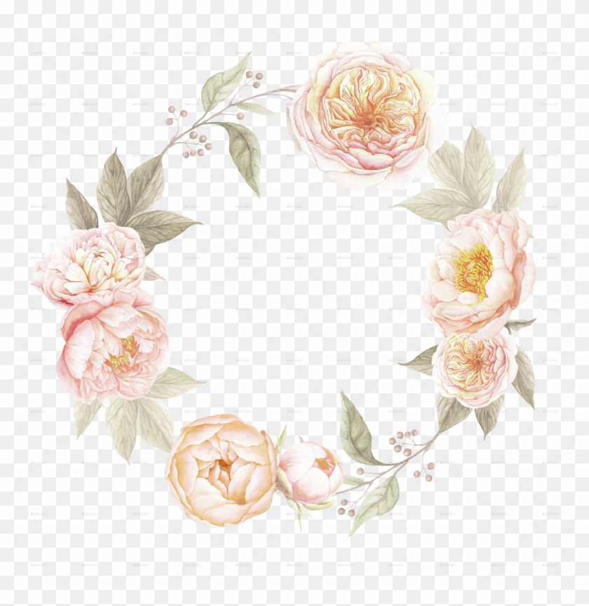 Translucent Peonie Wreath Clipart - Vintage Flower Wreath Png #105786