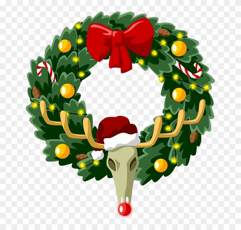 Christmas Wreath Coniferous New Year Spruce Deer - New Year's Wreath Png #105795