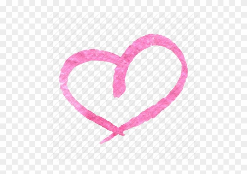 Watercolor Clipart Doodle Heart - Heart #105985