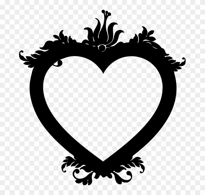 Floral Flourish Heart Decorative Ornamental Love - Floral Heart Black And White Png #106060