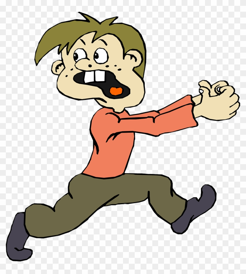 Scary Clipart Scared Guy - Cartoon Man Running Scared #106119