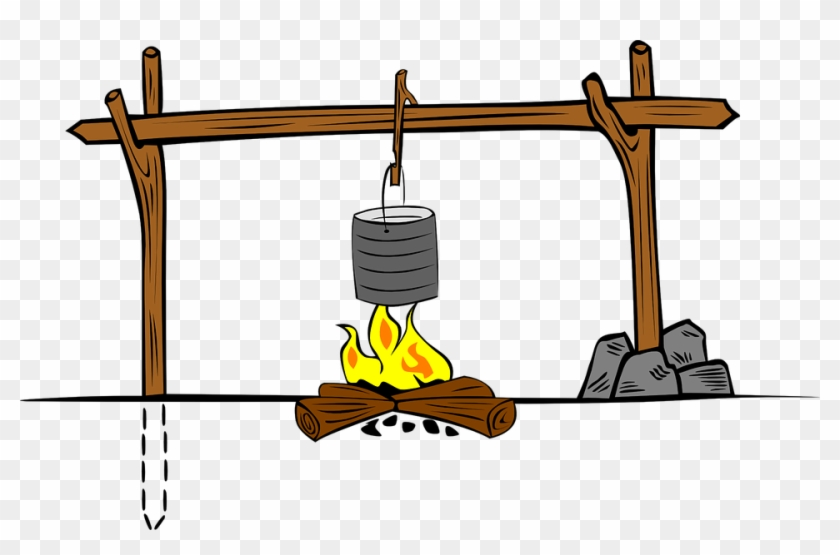 Cooking Fire Crane Camp - Camp Cooking Clipart #106146