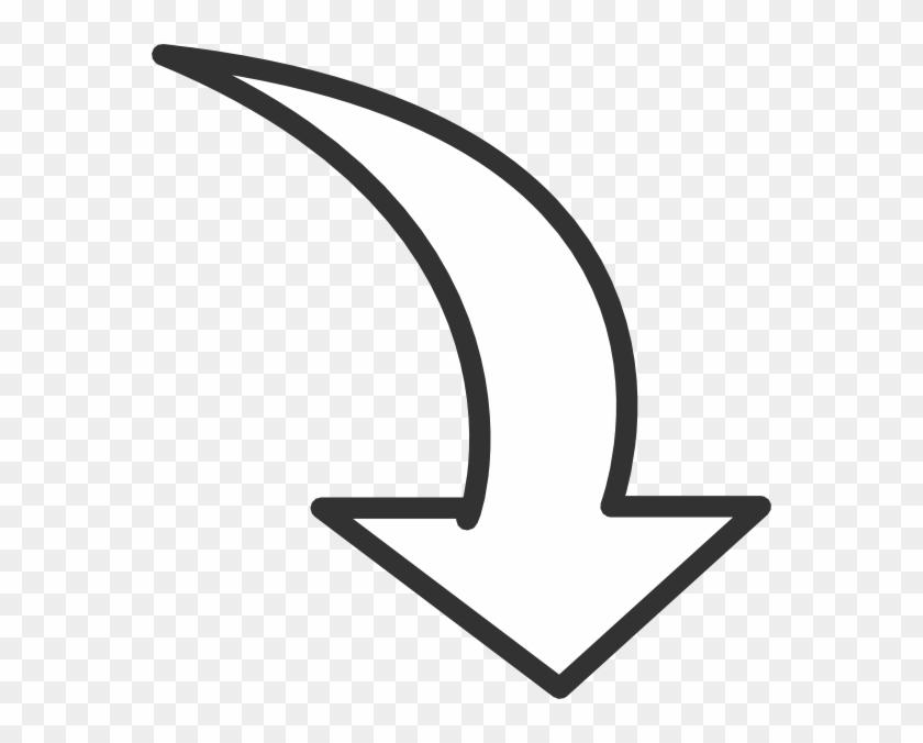White Curved Arrow Clip Art At Clker Com Vector Online - Clip Art Arrow #106176