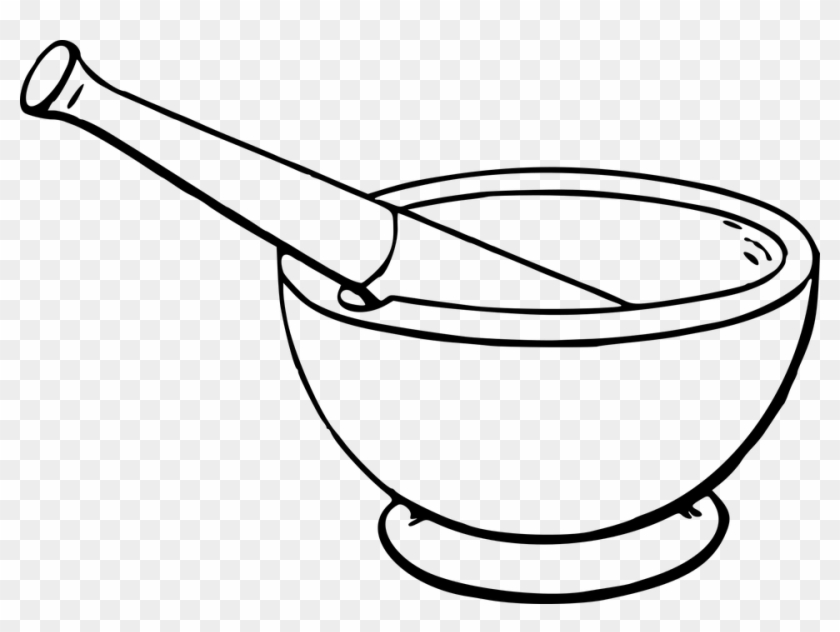 Cookery Cooking Kitchen Lab Laboratory Mortar - Mortar And Pestle Drawing #106182
