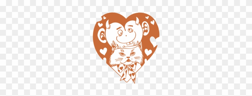 Valentine Cat With Devil In Heart - Heart #106345