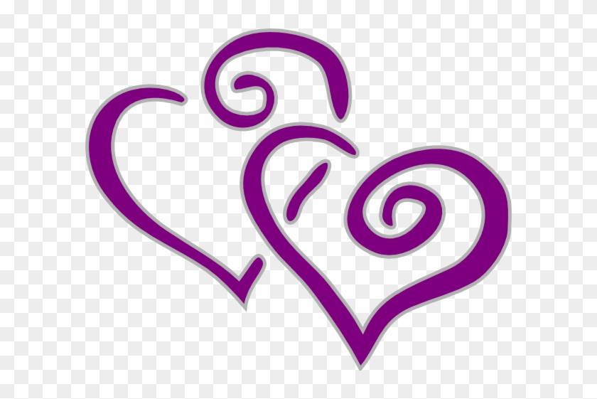 Interwined Heart Purple And Silver Clip Art At Clker - Hearts Clip Art #106416