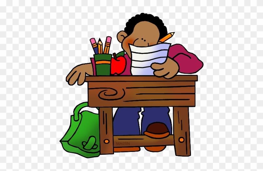Student At Desk Clipart - School Desk Clip Art #106509