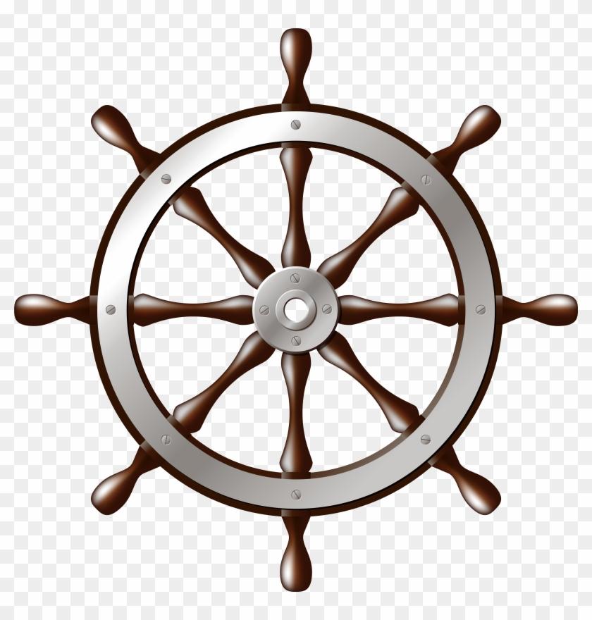 Ship Wheel Silver Png Clip Art - Ship Wheel Silver Png Clip Art #106573
