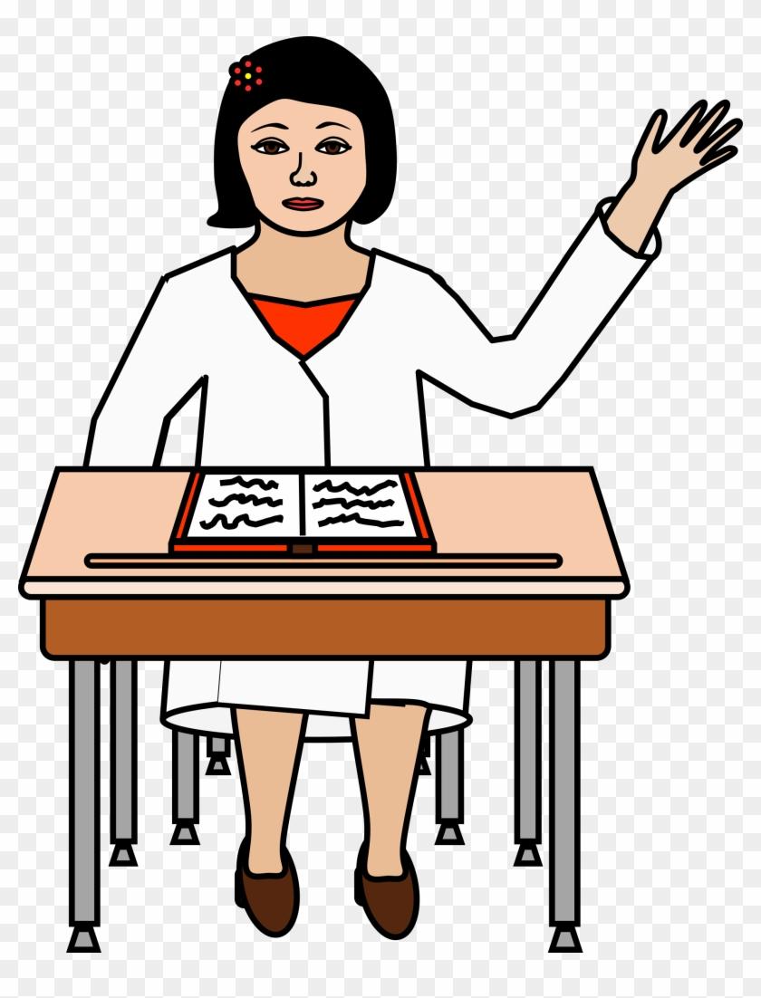 student sitting at desk raising hand clipart - alumno levantando la