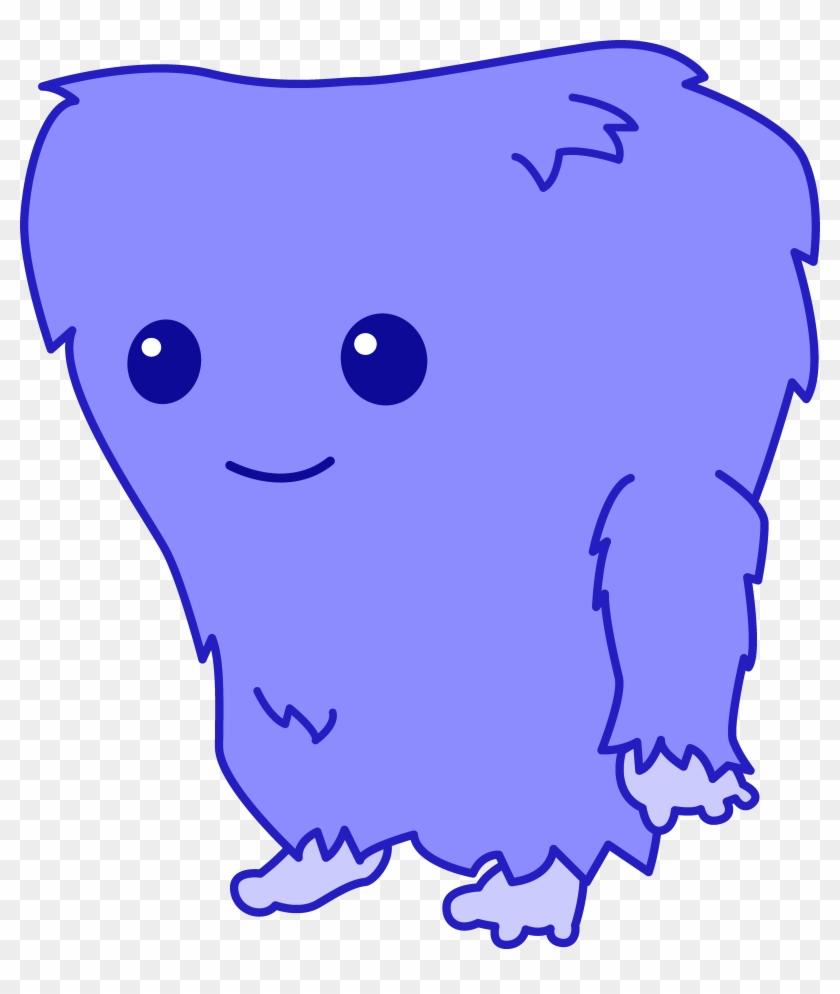 Cute Fuzzy Blue Monster - Cute Cartoon Monster Png #106870