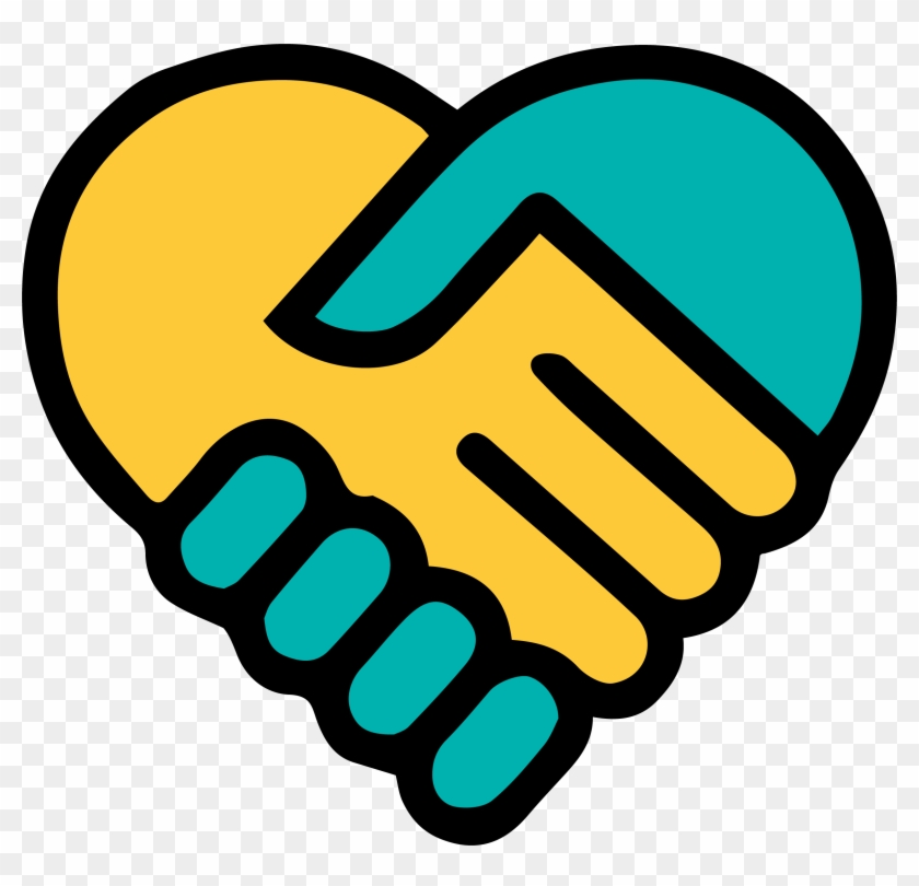 Yellow Blue Holding Hands Heart - Friends For Life #107073