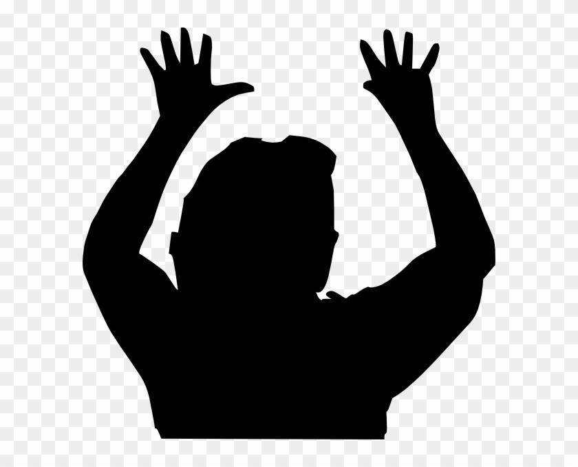 Raising Hands Silhouette Clip Art - Silhouette Raising Hand #107111