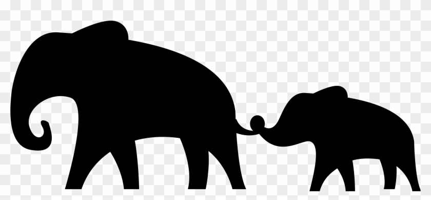 African Elephant Silhouette Clip Art - Baby And Mom Elephant Svg #107485