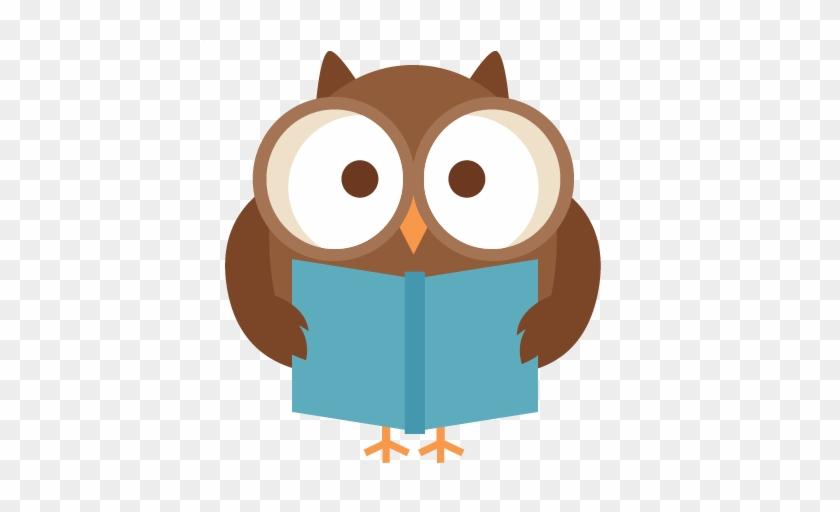 Reading Owl Svg Scrapbook Title School Svg Cut Files - Clip Art Owl Reading #107591