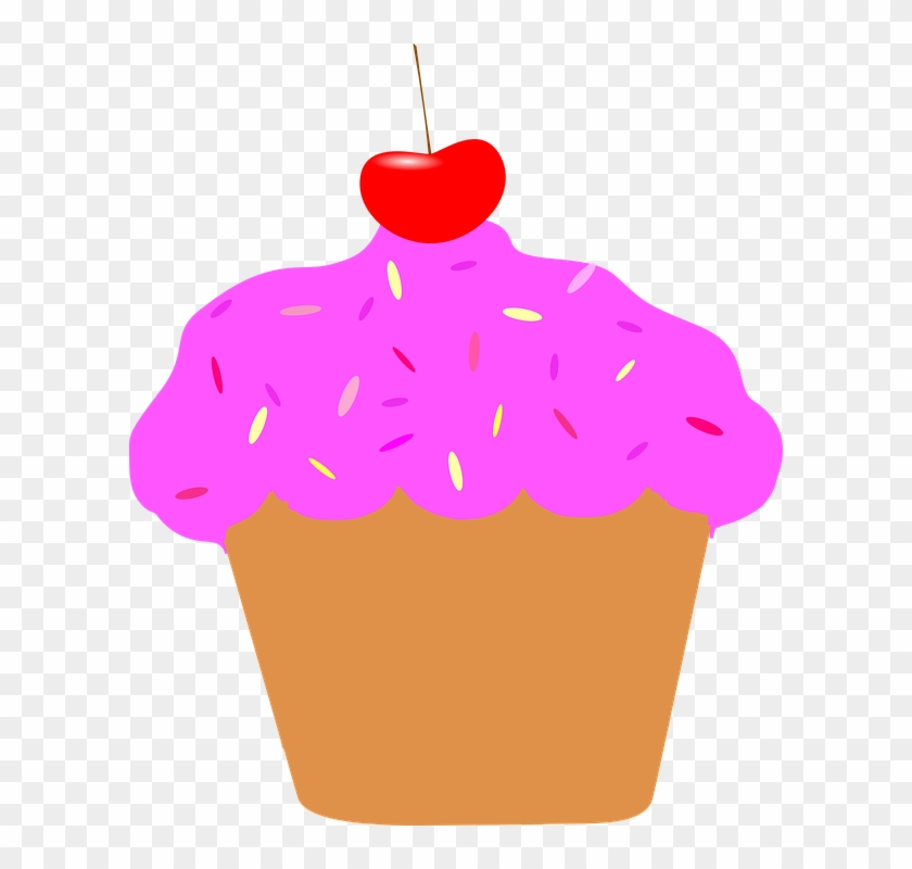 Pink Cherry Cupcake Clip Art At Vector Clip Art Online - Animation Cupcakes #107719