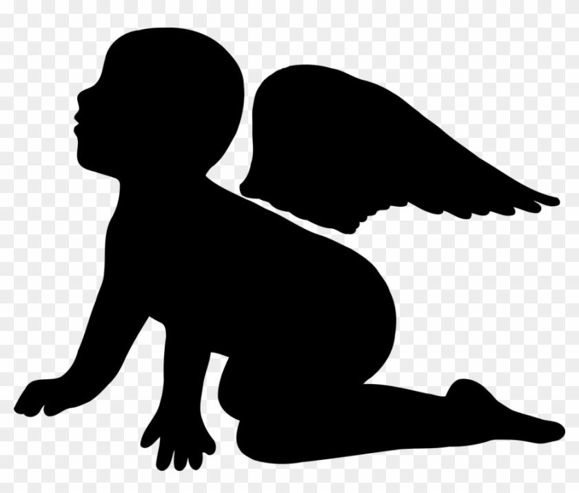 Angel, Boy, Cherub, Divine, Religion - Boy Angel Silhouette Png #107740
