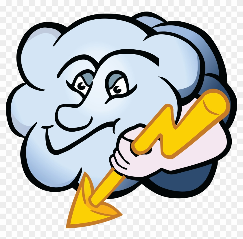 Free Clipart Of A Cloud Character Holding A Lightning - Gambar Karikatur Tentang Petir #107793