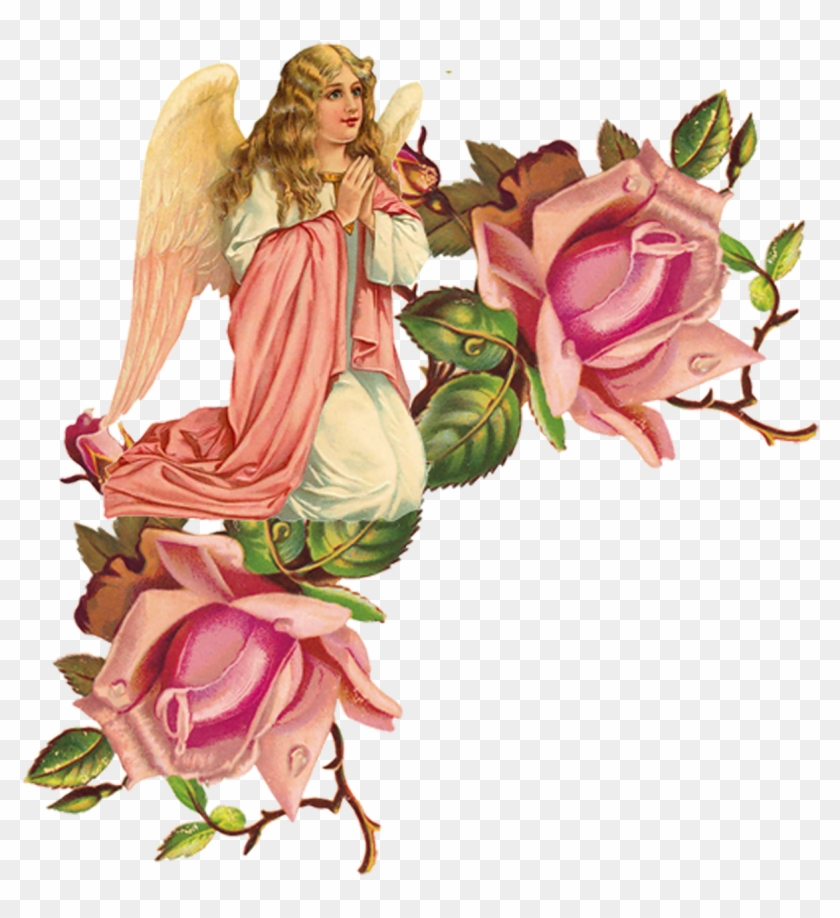 Victorian Angels, Victorian Christmas, Vintage Christmas, - One Pink Rose Wall Clock #107832