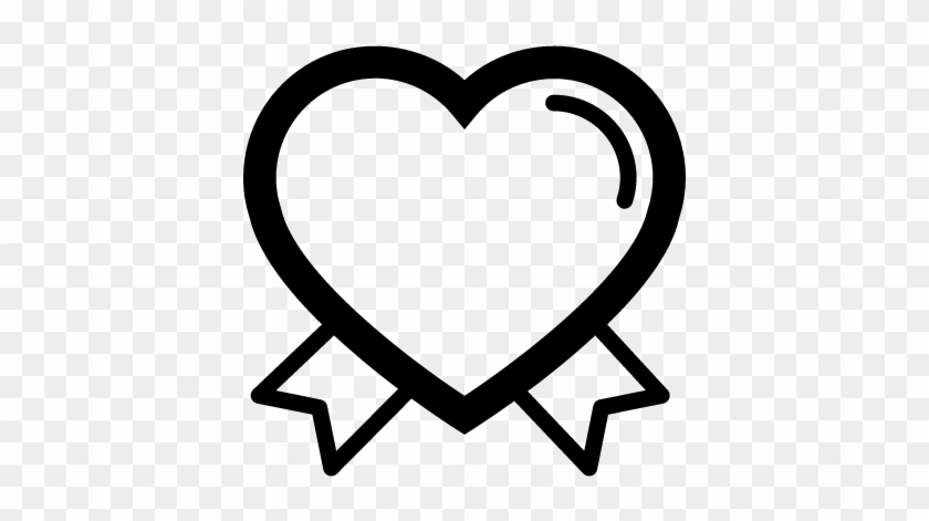 Valentines Heart Outline Shape With Ribbon Tails Couple - Vector Graphics #107916