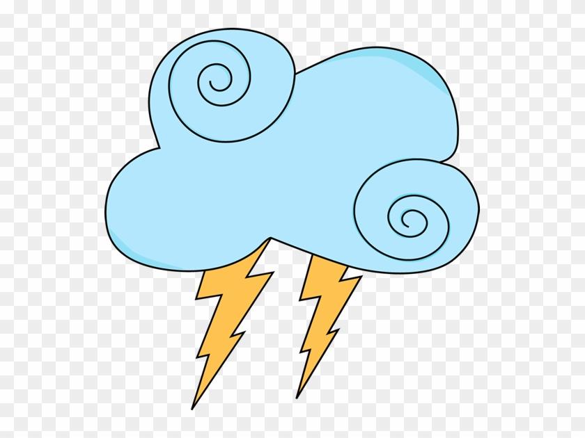 Light Blue Swirl Cloud With Lightning - Clip Art #107955