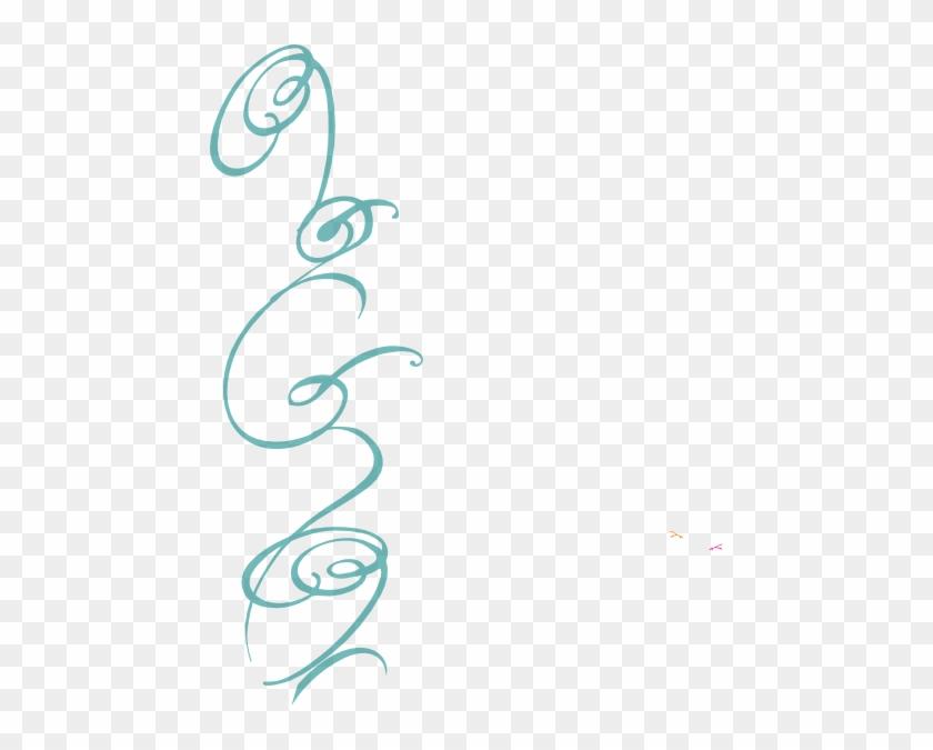 Blue Decorative Side Swirl Clip Art At Clker - Blue Swirls No Background #107985