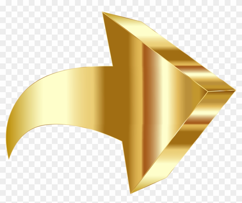 Sparkling Gold 3d Arrow - Gold Arrow Png #108077