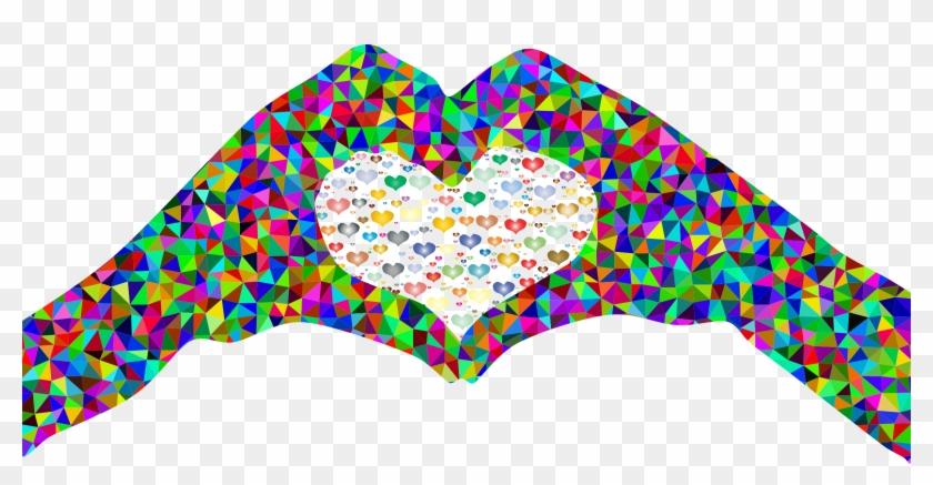 Poly Prismatic Fractal Heart Hands Silhouette 2 - Regenbogen Farbige Gehirn-prismatische Kunst Mousepad #108089
