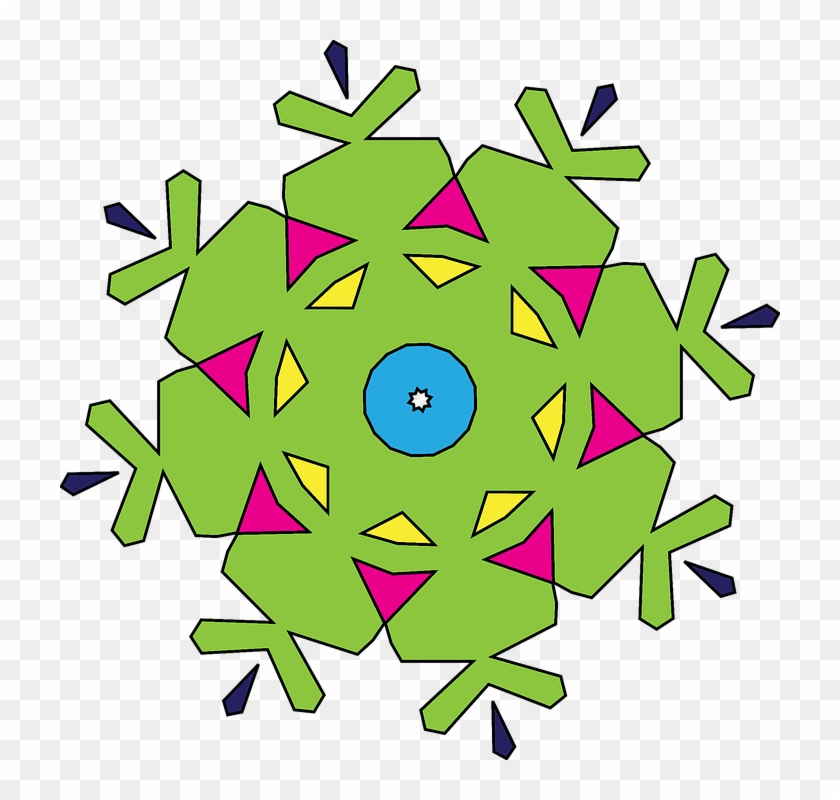 Kaleidoscope Geometric Shapes Abstract Pattern - Simple Green Snowflake Mugs #108103